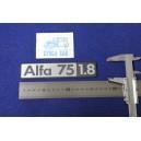 """SCRITTA """" ALFA 75 1.8 """"  metallo opaco"""