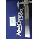 """SCRITTA """"MINI COOPER 1300"""" (LUNGHEZZA 225 mm) METALLO CROMATO"""